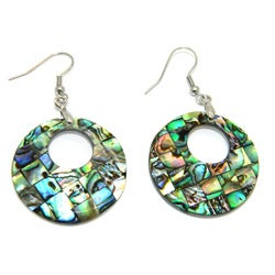 Pearlz Ocean Abalone Shell Round Cutout Dangle Earrings