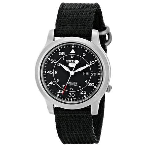 Seiko 5 Men's Automatic Black Strap Black Dial Watch