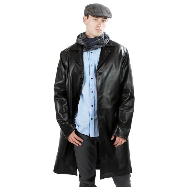 United Face Men's Black Lambskin Leather Coat