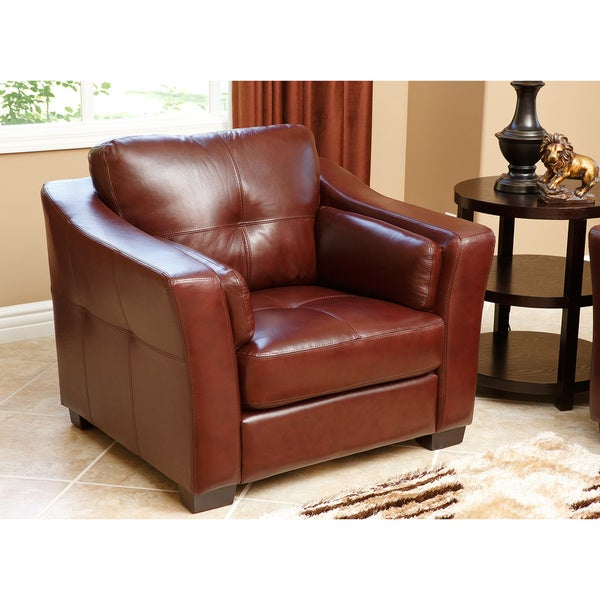 Abbyson Torrance Premium Top-grain Leather Armchair