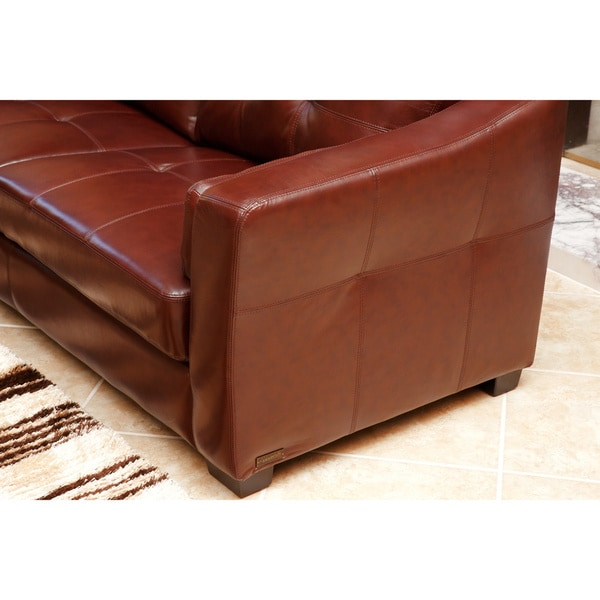 abbyson torrance premium topgrain leather sofa and armchair set free shipping today - Top Grain Leather Sofa