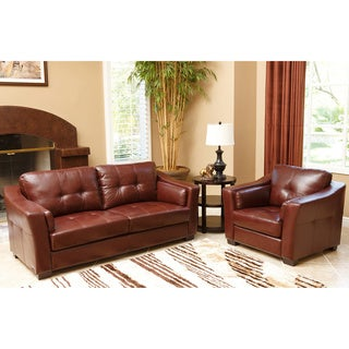 abbyson torrance burgundy top grain leather sofa and armchair set