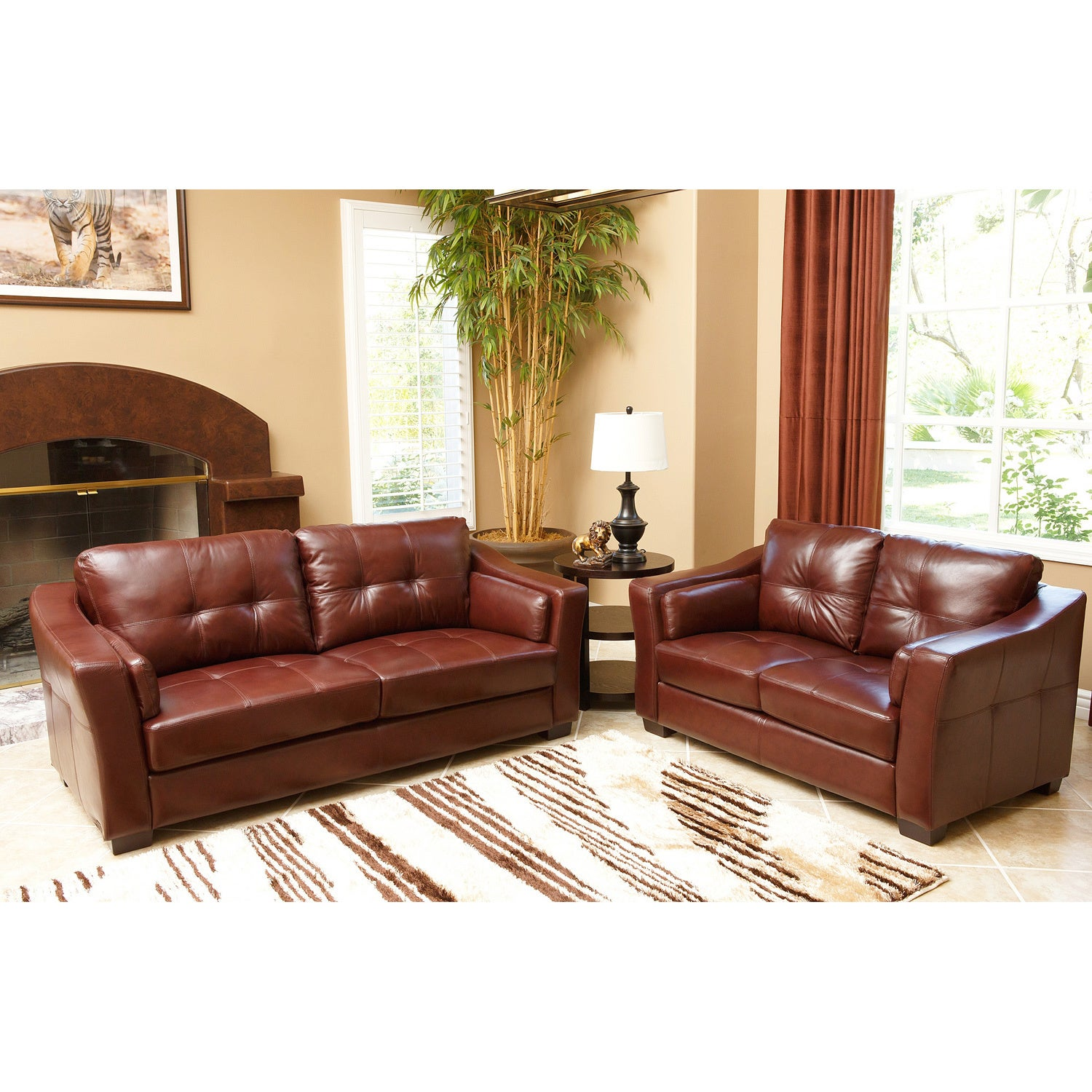 Abbyson Torrance Burgundy Top Grain Leather Sofa and Loveseat Set