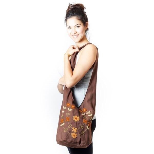 Cotton Floral Embroidered Zippered Shoulder Bag (Indonesia)