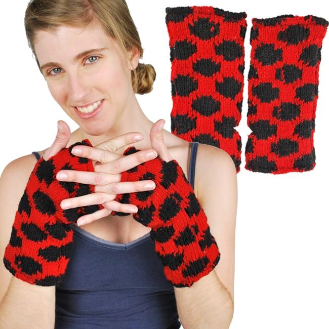 Wool Fleece-Lined Lady Bug Arm Warmer (Nepal)