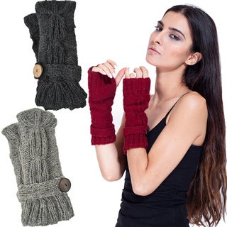 Handmade Wool Fleece-Lined Cute-As-A-Button Arm Warmers (Nepal) (Option: Grey)