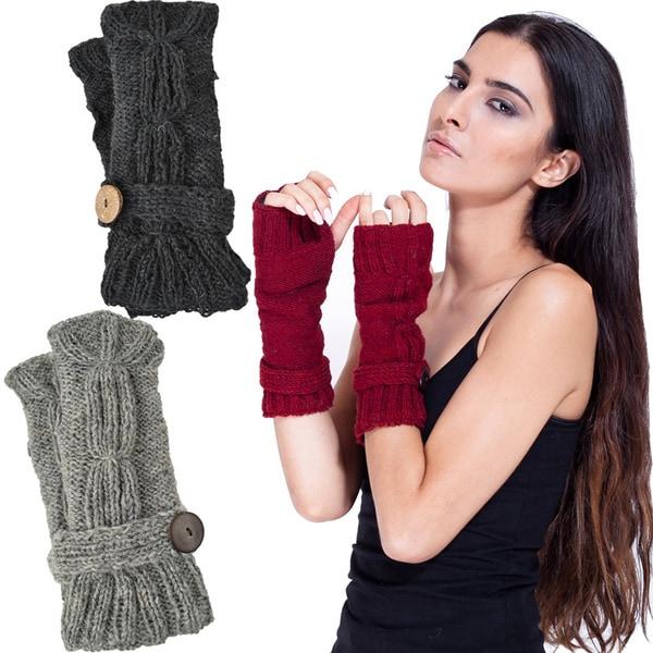 Wool Fleece-Lined Cute-As-A-Button Arm Warmers (Nepal)