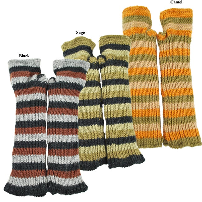 Wool Fleece-Lined Striped Handwarmers (Nepal) - Thumbnail 0