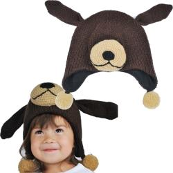 Kid's Wool Fleece-Lined Sleepy Dog Beanie (Nepal)