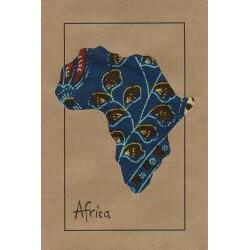 Set of 4 Map of Africa Kitenge Fabric Cards (Kenya)