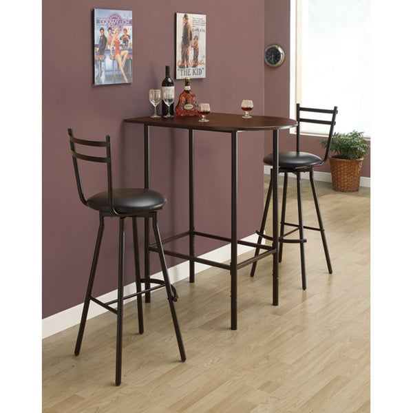 14 Space Saving Small Kitchen Table Sets 2019: Cappuccino/ Black Metal Space-saver Bar Table
