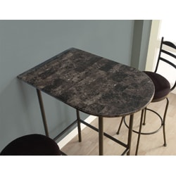 Grey Marble Charcoal Metal 24x36 Spacesaver Bar Table