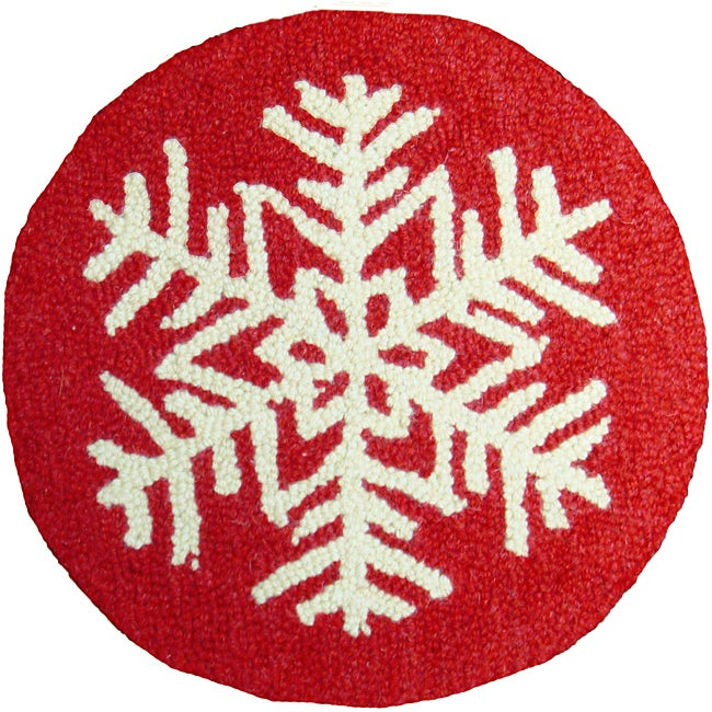 Merveilleux Red/White Snowflake Pattern Hooked Wool Chair Pad