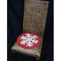 Red/White Snowflake-Pattern Hooked-Wool Chair Pad - Thumbnail 1