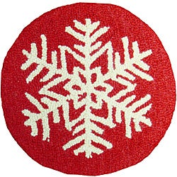 Red/White Snowflake-Pattern Hooked-Wool Chair Pad