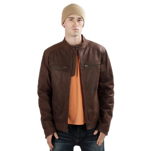 United Face Men's Vintage Brown Italian Lambskin Moto Racer ...