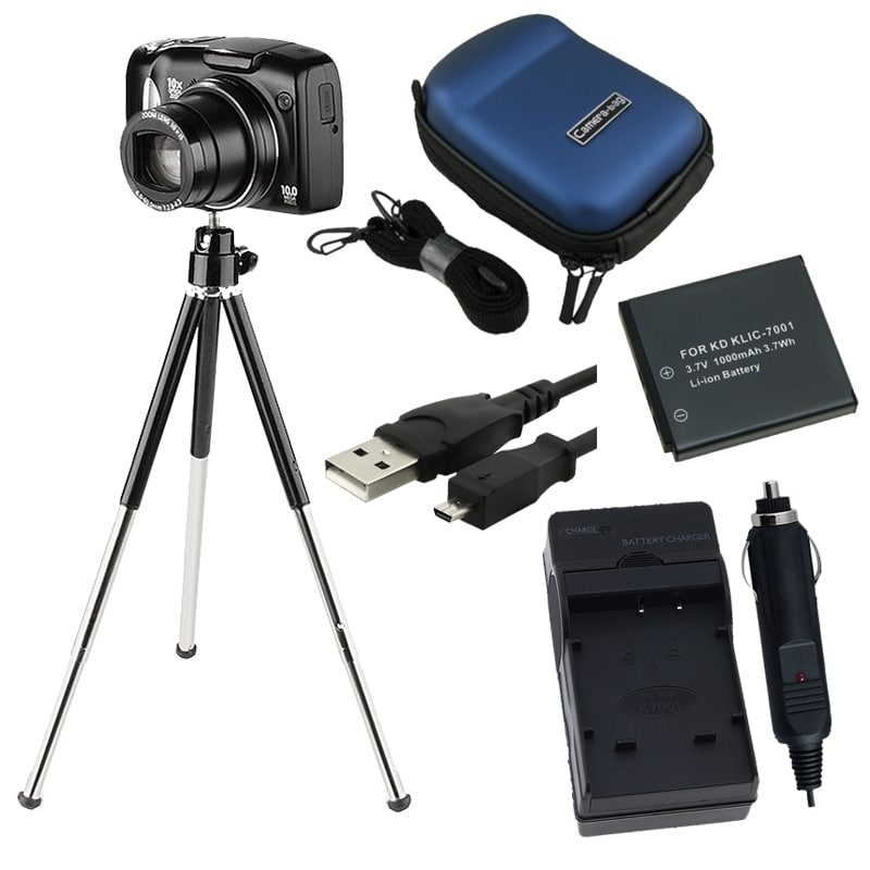 Battery/ Charger Set/ USB Cable/ Case/ Tripod for Kodak KLIC-7001