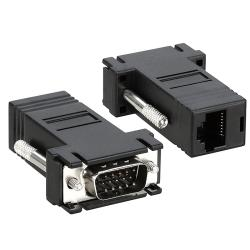 INSTEN Black VGA Extender to RJ45 Adapter with Connectors (Set of Two)