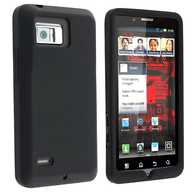 INSTEN Black Soft Silicone Skin Phone Case Cover for Motorola Droid Bionic XT875