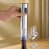 Wine Enthusiast Stainless Steel Electric Push-button Corkscrew