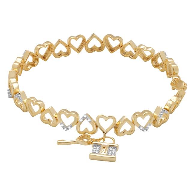 Gold over Silver 1/10ct TDW Diamond Heart Bracelet (H-I, I3)