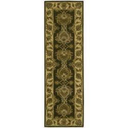 Nourison Hand-tufted Caspian Green Wool Rug (2'3 x 7'6)