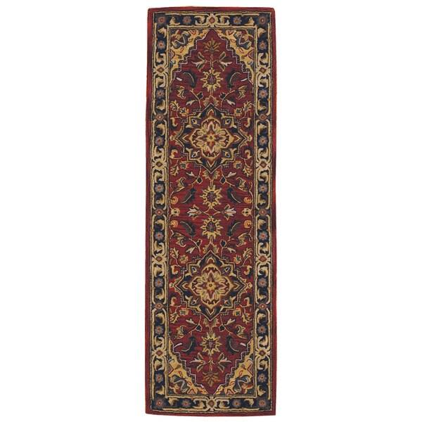 Nourison Hand-Tufted Caspian 100 Percent Red Wool Rug (2'3 x 7'6)