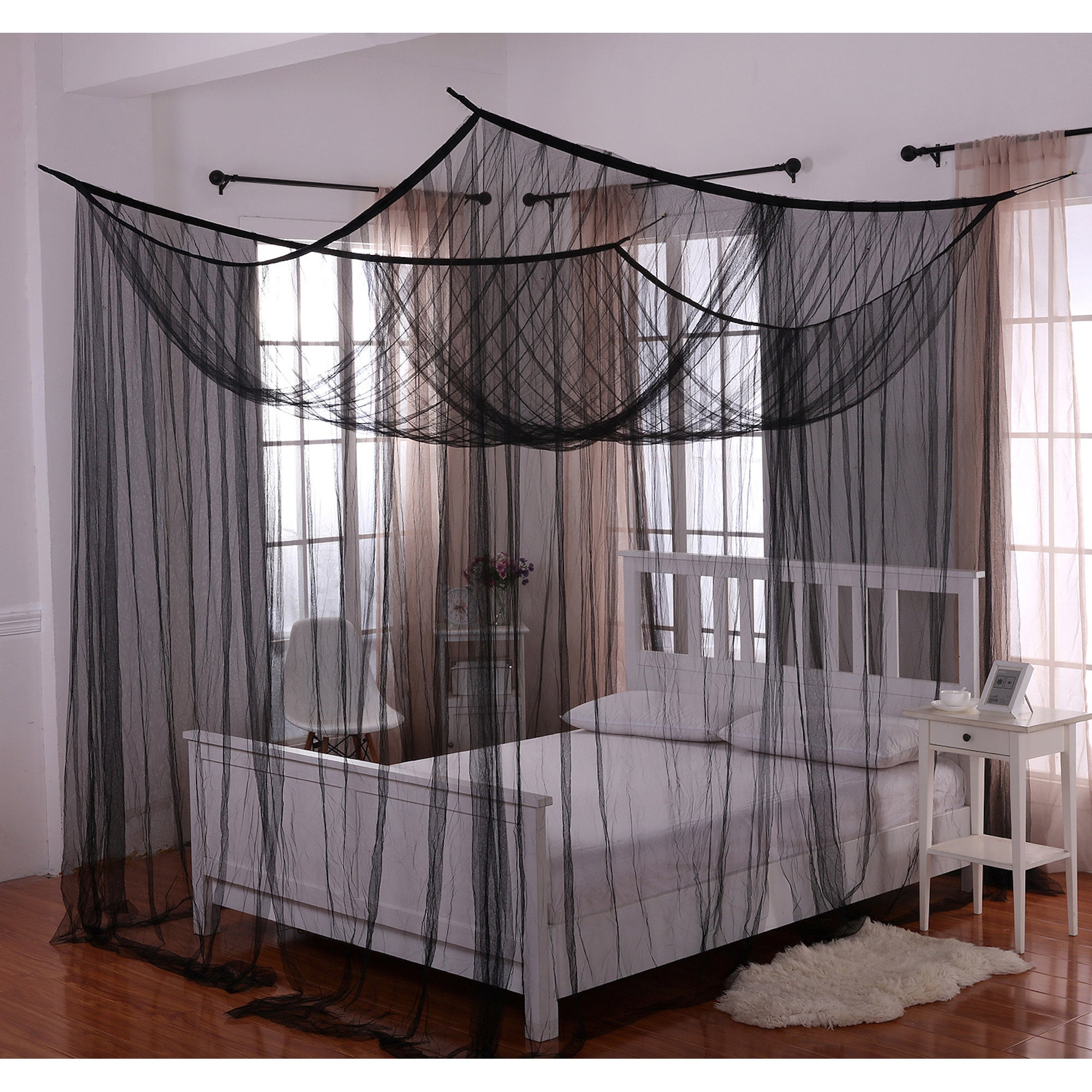 EPOCH HOMETEX, INC. Palace Four-poster Bed Canopy (Black)...