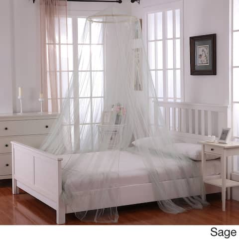 Oasis Sheer Moqsuito Net Round Hoop Bed Canopy