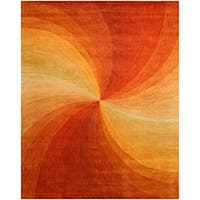 Hand-tufted Wool Orange Contemporary Abstract Swirl Rug - 7'9 x 9'9