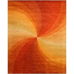 Hand-tufted Wool Orange Contemporary Abstract Swirl Rug (7'9 x 9'9) - 7'9 x 9'9