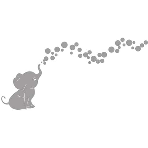 Cutie Elephant with Bubbles Vinyl Wall Decal Set