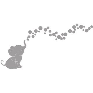 Cutie Elephant with Bubbles Vinyl Wall Decal Set (Option: White)