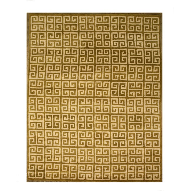 Hand-tufted Ethos Green Wool Area Rug (5' x 8')