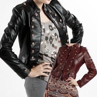 United Face Women's Lambskin Leather Military Jacket
