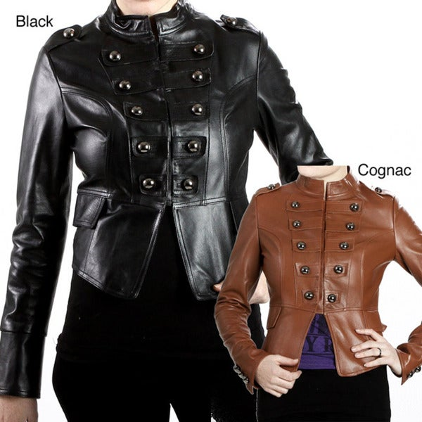 United Face Women's Lambskin Leather Snap-front Military Jacket