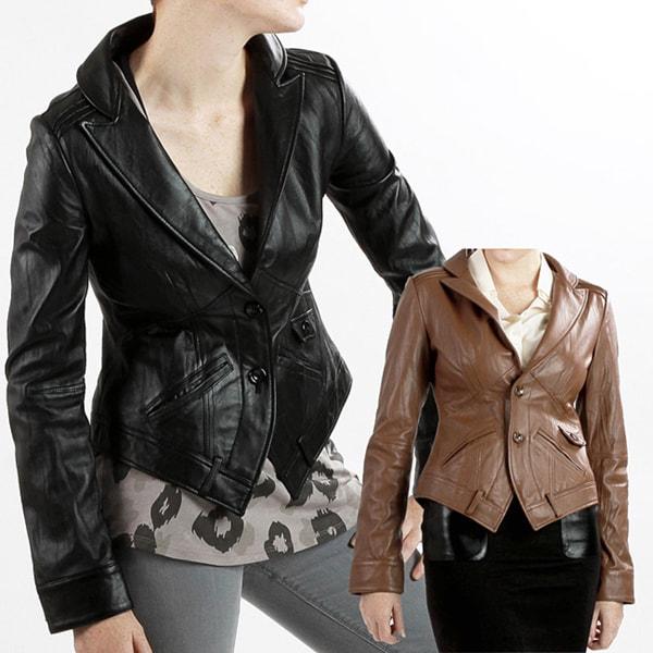United Face Women's Textured Leather Blazer