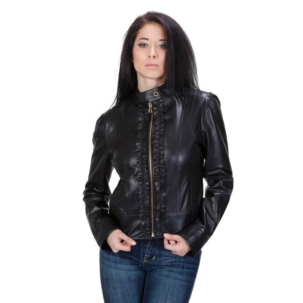United Face Women's Ruffle Front Leather Scuba Jacket