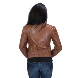 United Face Women's Ruffle Front Leather Scuba Jacket