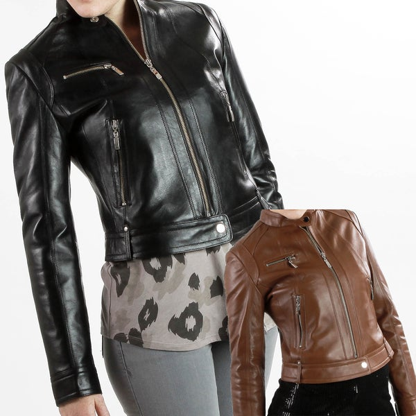 United Face Women's Lambskin Moto Scuba Leather Jacket