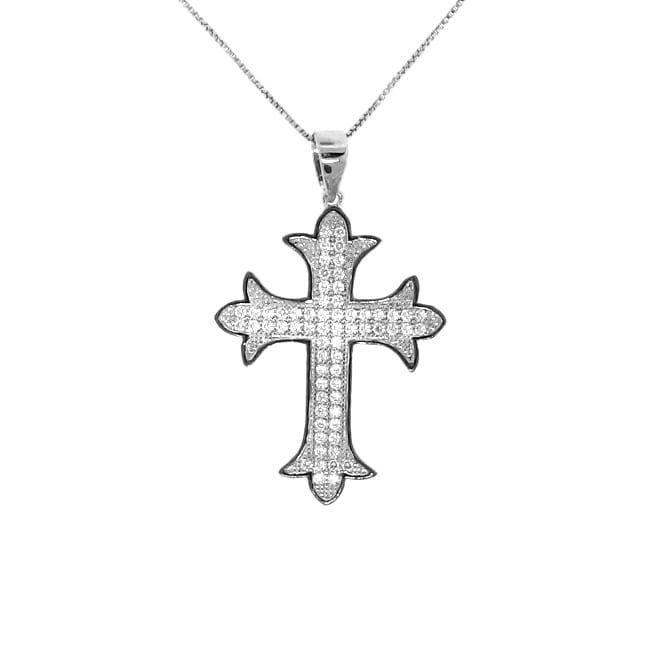Sterling Silver Clear Cubic Zironia Cross Necklace