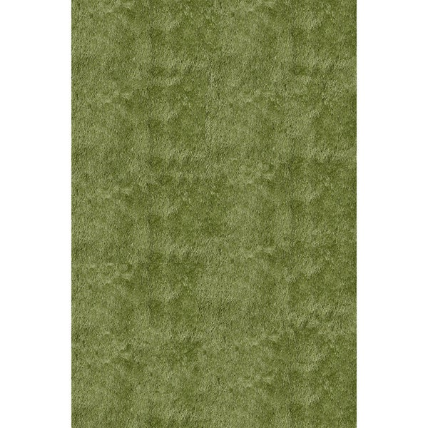 Handmade Posh Apple Green Shag Rug (5' x 7')