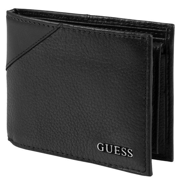 Guess Men's Textured Bi-Fold Passcase Wallet