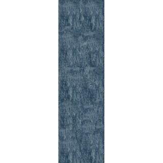 Handmade Posh Light Blue Shag Rug (2'3 x 8')