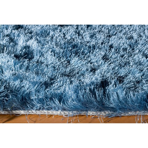 Momeni Luster Shag Light Blue Hand-Tufted Shag Rug - 5' x 7'