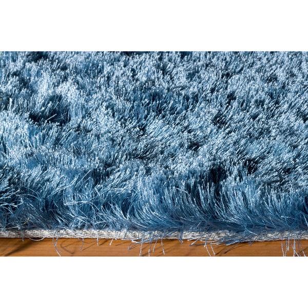 Shop Momeni Luster Shag Light Blue Hand Tufted Shag Rug