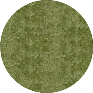 Handmade Posh Apple Green Shag Rug (4' x 4' Round)