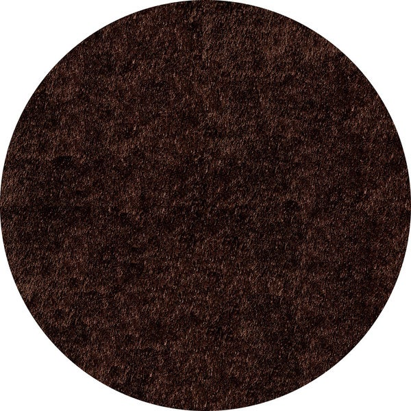 Handmade Posh Chocolate Brown Shag Rug (4' x 4' Round)