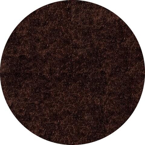 Momeni Luster Shag Brown Hand-Tufted Shag Rug (4' X 4' Round) - 4' x 4' Round