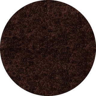 Handmade Posh Chocolate Brown Shag Rug (4' x 4' Round)